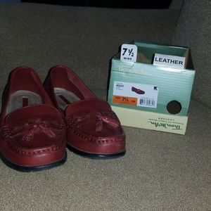 Thom McAn red leather loafers